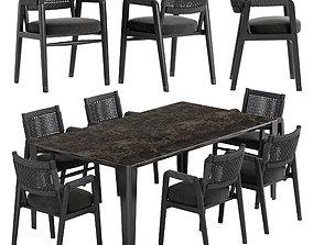 3D Flexform Ortigia chair Iseo table set