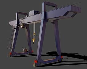 PBR Double Girder Gantry Crane V2 - Blue Dark 3D model