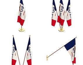 Iowa Flag Pack 3D