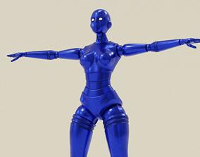 3D model rigged Blue Robot Woman