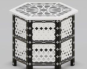 Hexagonal ornate Moroccan table 03 3D