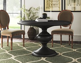 Acklin Rubberwood Solid Wood Pedestal Dining Table 3D