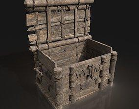 Medieval Wooden Treasure Chest Box Locker 3D asset 2
