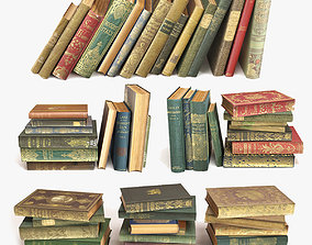 bookshelf 3D model old books on a shelf set 2