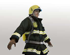 Firefighter in Helmet F1SF Rigged Character 3D asset
