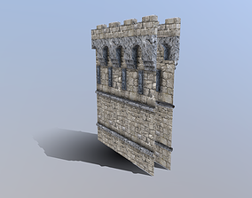 Medieval French Castle Wall 3D asset