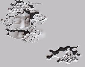 Buddha Head CNC carving statue 3D printable model