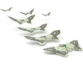 Butterflies dollars 3D asset