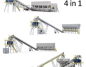 Ready Mix Concrete Plants Machines Collection 3D