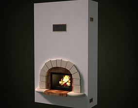 3D White Portable Fireplace