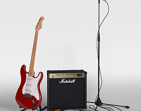 3D model Electric guitar with amplifier