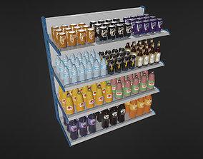 3D model Food Shelf with Standard Drinks