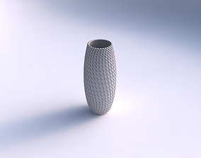 3D printable model Vase tall twisted with grid piramides 2