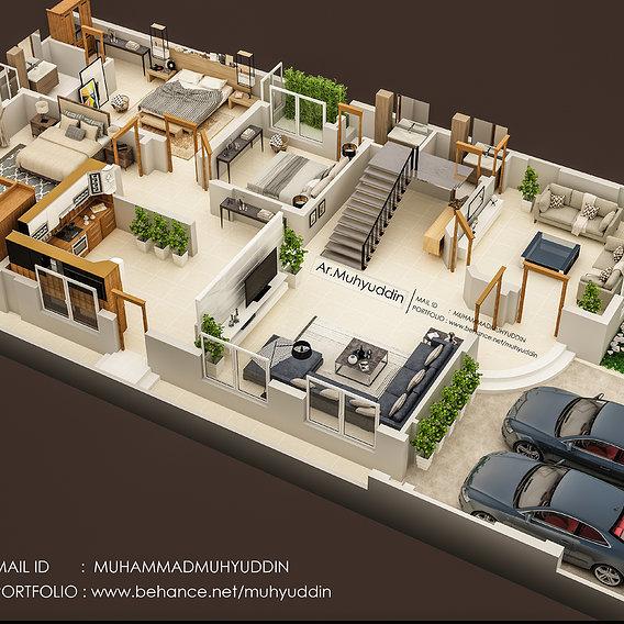 3d floor plan render in 3ds max vray