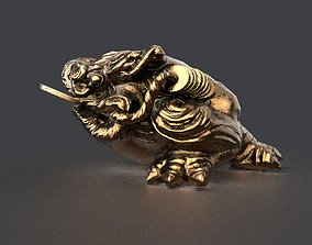 3D model temple money frog