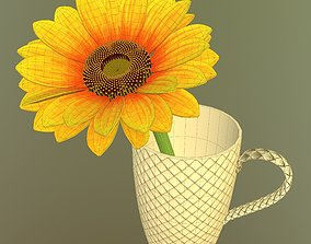 3D Sunflower in cup