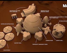 3D print model Mars base Inside Victoria Crater