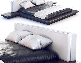 Bed 180 x 200 cm in dark wood 3D model