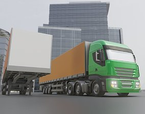 3D 3-AXIS Truck with Semitrailer High-Poly Version