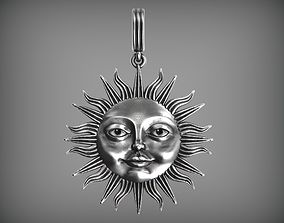 Sun face pendant 3D printable model