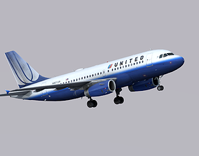 3D asset Airbus A319 United Airlines