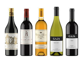 3D model label Wine bottles