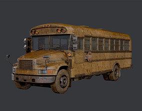 Apocalyptic Damaged Destroyed Vehicle School 3D asset 2