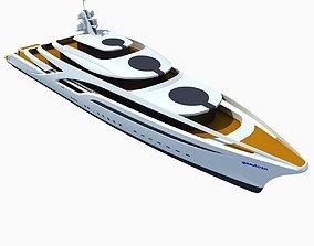 3D model Concept Yellow Deck Luxury Yacht