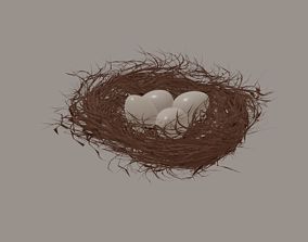 bush Bird Nest 3D