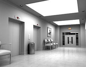 Hallway With Elevators White 3D model
