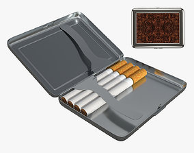 Cigarette metal case box 03 open 3D