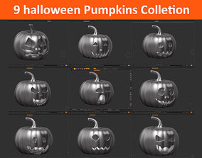 9 halloween pumpkin Mega Pack 3D model