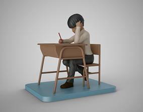 Little Boy Writing 3D print model