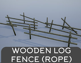 Wooden Logs Fence Tied with Rope 3D asset