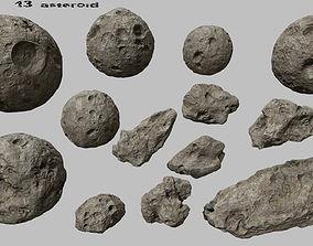 3D model VR / AR ready asteroid set