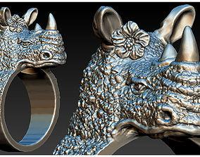 Rhino Head Ring 3D printable model