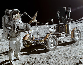 Rover Apollo Lunar Space on the Moon Ground 3D model 2