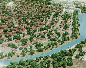 3D asset game-ready city landscape top view