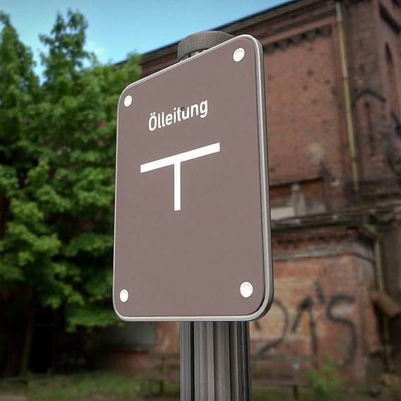 Low-poly oil pipeline sign with post and frame