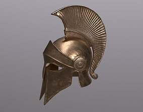 3D model VR / AR ready Greek helmet