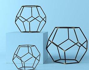 Iron Gold highlight Amin Geometric Orb Sculpture Set 3D