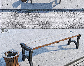 Snow Bench and Sidewalk with street 3D