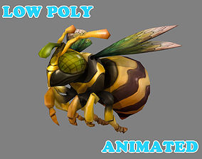 Low Poly HoneyBee Animated - Game 3D asset