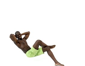 3D model Laying Smiling Man with Green Shorts