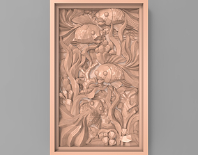 3D print model The fishes between seaweed bas relief for