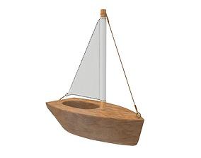 3D Wooden sailboat