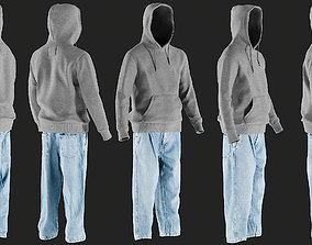 Mens Jeans with Hoodie 10 3D model realtime