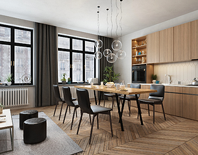 3D dining room and kitchen