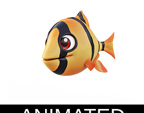 3D model Tiger Barb Fish Cartoon Style Animated