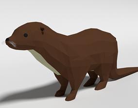 Low Poly Cartoon Otter 3D model